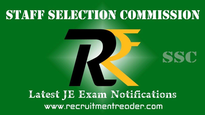 SSC JE Exam Notification 2017