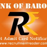 Bank of Baroda Exam Admit Card 2018