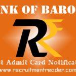 Bank of Baroda Exam Admit Card 2018