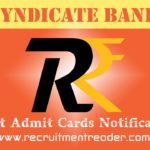 Syndicate Bank Exam Admit Card 2018