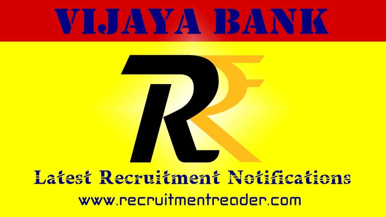 Vijaya Bank Recruitment Notification 2018