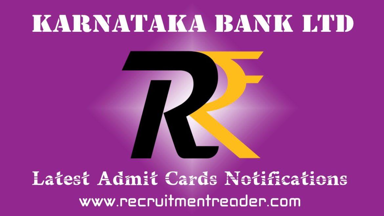 Karnataka Bank Exam Admit Card 2018