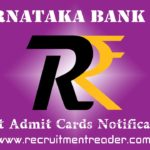 Karnataka Bank Exam Admit Card 2019