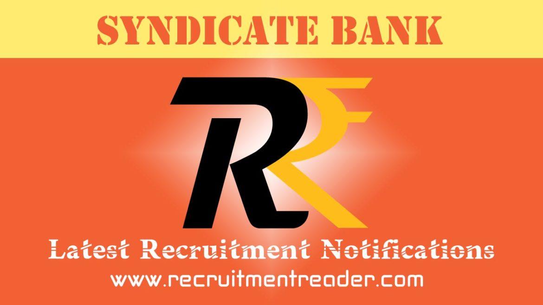 Syndicate Bank Recruitment Notification 2018