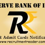 RBI Exam Admit Card 2018