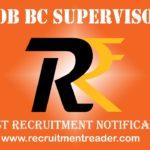 BOB BC Supervisor Recruitment